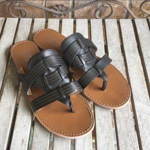 Franco Sarto Black Marlis Leather Sandals